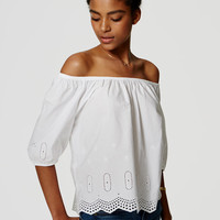 Eyelet Off The Shoulder Blouse | LOFT
