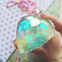 Super Kawaii Glittery Resin Multicolor Pendant Necklace