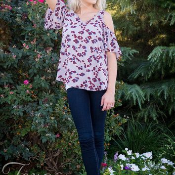 Grey and Burgundy Leopard Cold Shoulder Top