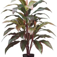 "Red Artificial Potted Cordyline Palm Floor House Plant - 40"" Tall"