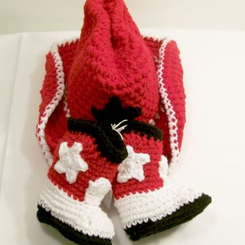 Baby Boy Cowboy Gift Set-Red and Black Colors--Baby Shower Gift- PLEASE CHOOSE YOUR SIZE