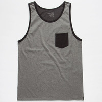 Blue Crown Color Block Mens Pocket Tank Grey  In Sizes