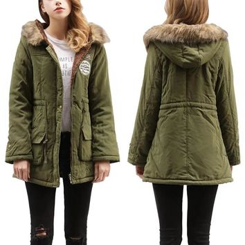 STYLEDOME  Winter New 14 Color Fur Collar Hooded Lamb fur Parka Women's Cotton Coat Plus Size Slim Fit Military Jacket women