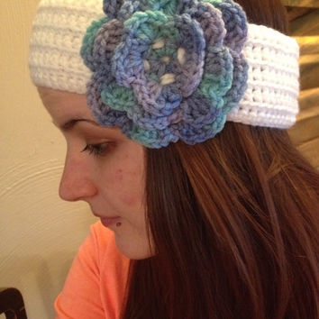 Crochet Multicolor Flower Headband / Multicolor Flower Headband / Multicolor Flower Ear Warmer / Fashion Headband