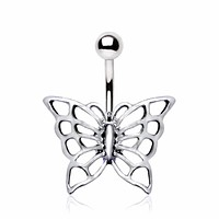 316L Stainless Steel Enchanting Butterfly Navel Ring