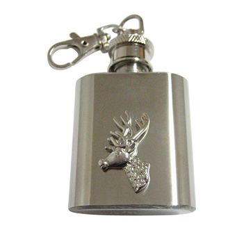Silver Toned Stag Deer Head 1 Oz. Stainless Steel Key Chain Flask