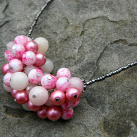 Statement Glass Bead Necklace - pink jewelry, handmade, cluster necklace