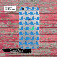 Blue And Mint Whale Silhouette Pattern Cute Tumblr Clear Rubber Phone Case For iPhone 6 and iPhone 6 Plus + Transparent Crystal Custom Case
