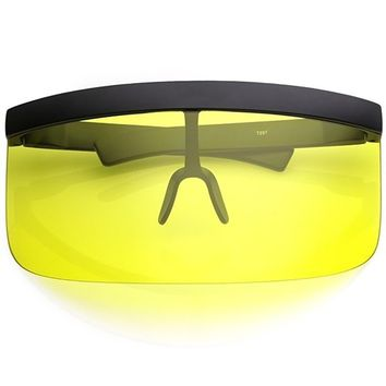 Futuristic Oversize Shield Visor Sunglasses With Flat Top Colored Mono Lens 172mm