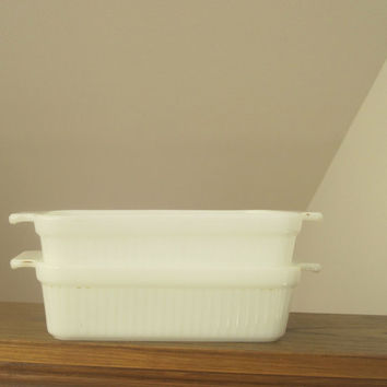 1950s Fire King Pyrex Ribbed Loaf Pan, Set of 2, Milk Glass, 1 Quart