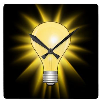 Bright Idea Light Bulb Square Wall Clock