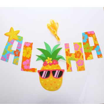 "Colorful ""ALOHA"" with Pineapple Hawaiian Party Hanging Banner"