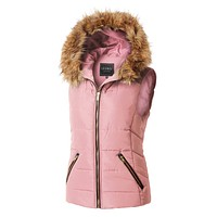 LE3NO Womens Fully Lined Quilted Puffer Sleeveless Vest with Faux Fur Hoodie