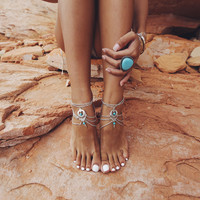 Boho Summer Style Multilayer Silver Chains Turquoise Beads Anklet Foot