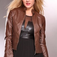 Brown Faux Leather Long Sleeves Lace Up Detailing Sexy Outerwear @ Amiclubwear Outerwear Clothing Store:Women's Outer Wear,leather motorcycle jackets,double breasted coats,winter outerwear,outerwear jackets,Outerwear Dress,Discount Outerwear,sexy jackets,