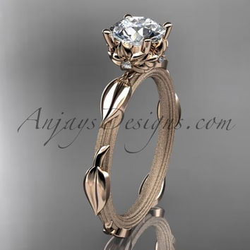 "14k rose gold diamond vine and leaf wedding ring, engagement ring with a ""Forever One"" Moissanite center stone ADLR290"