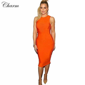 2016 new orange khaki red hollow out bodycon women bandage dresses mid calf sexy sleeveless evening party Khloe Kardashian dress