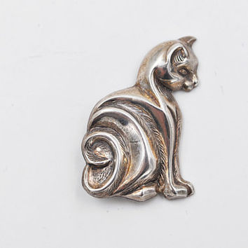 Vintage Beau Sterling Cat Brooch, Sitting Cat Pin, Sterling Silver Cat Brooch, Textured, 3D, Sweet Kitty #b416