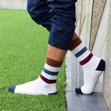 National Striped Men Business Socks Brand High Quality Adult Leisure Cotton Socks Breathable Long Tube Sock