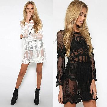 Fashion Perspective Embroidery Long Sleeve Beach Dress smock