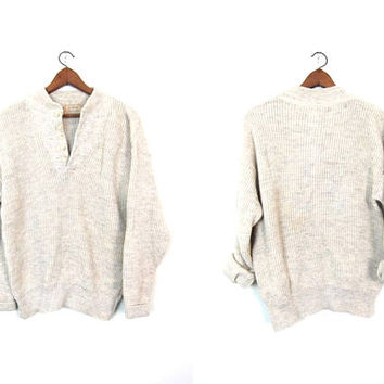 LL Bean Sweater 80s Vintage Henley Sweater Wool Mix Military Pullover Grunge Open V Button Up Cream White Boyfriend Sweater Mens Large