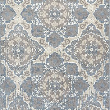 2930 Light Blue Medallion Distressed Oriental Area Rugs