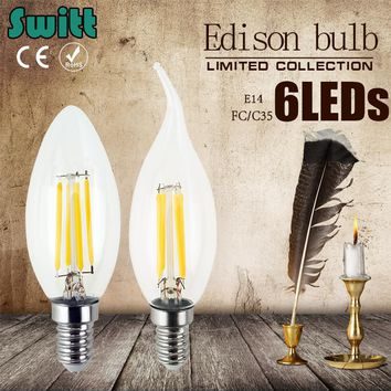 Antique Retro Vintage Edison Led E14 LED candle Bulb Filament Light Glass Bulb Lamp 220V 4W 8W Candle Light Lamp