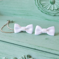 Pure White Satin Bow Double Silver Chain Ear Cuff (Pair)