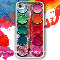iPhone 4 Case, Watercolor painting Box, palette Design white iphone hard case for iphone 4, iphone 4S