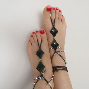 green anklet, christmas gifts, barefoot, yoga, dance,beach jewelry