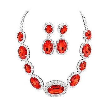 Large Statement Ruby Red Oval Stone Bridal Bridesmaid Necklace Earring Set Silver Tone DN03