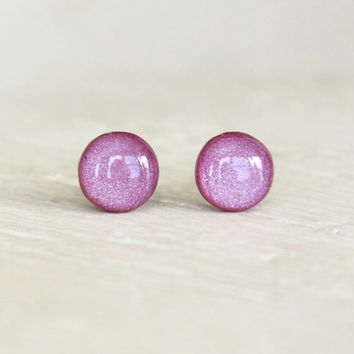 PLUM FAIRY - Purple Earrings Studs - Small Round Earrings - Tiny Post Earrings - Little Stud Earrings in Purple Shimmer - By EarSugar