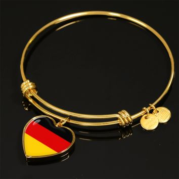 German Pride - 18k Gold Finished Heart Pendant Bangle Bracelet