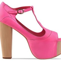 Jeffrey Campbell Foxy Wood in Pink Neon at Solestruck.com