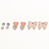 With Love From CA Bow Heart Stone Earring Trio at PacSun.com