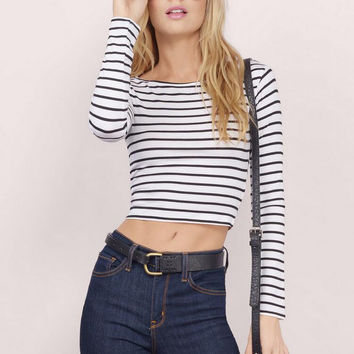 White Striped Print Long Sleeve Crop Top