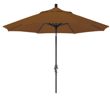 9 Foot Sunbrella 1A Fabric Aluminum Crank Lift Collar Tilt Patio Umbrella with Black Pole