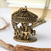Childhood memories lovely Carousel necklace by Sevinoma on Etsy