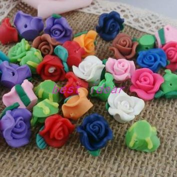 Free Shipping 30pcs Multi color Polymer Fimo Clay Flower With Leaf Spacer Beads 15mm For Jewelry Making Craft DIY