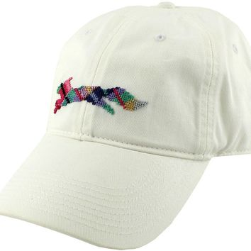"""Country Club Prep """"Longshanks"""" Needlepoint Hat in White by Smathers & Branson"""
