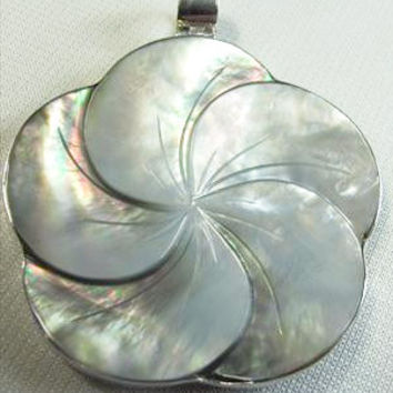 Pearl Shell Flower and Silver Pendant