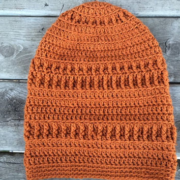 Orange slouchy hat //  beanie // crochet beanie // winter hat