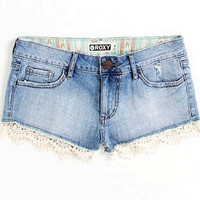 Roxy Lace Denim Shorts
