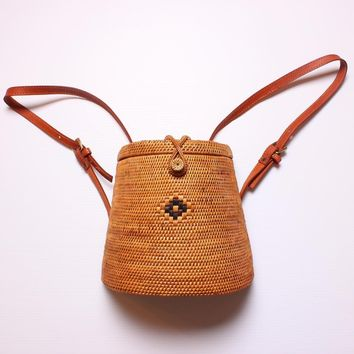Luxury Bohemian Wind Bali Rattan Backpack