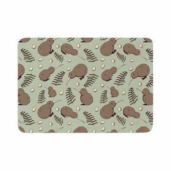 "Stephanie Vaeth ""Kiwi Bird"" Brown Green Illustration Memory Foam Bath Mat"