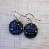 Royal Blue Dichroic Earrings, Drop Earrings, Surgical Steel Earring Wires - Catalina - 2025 -3