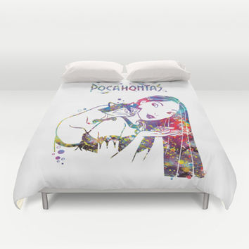 Pocahontas and Meeko Duvet Cover by Bitter Moon