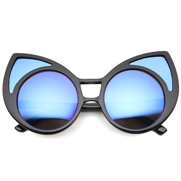 Super Oversize Window Cat Eye Sunglasses With Mirror Lenses 9952