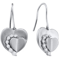 Round Diamond Ladies Fashion Heart Earrings in 14k White Gold 0.33 ctw