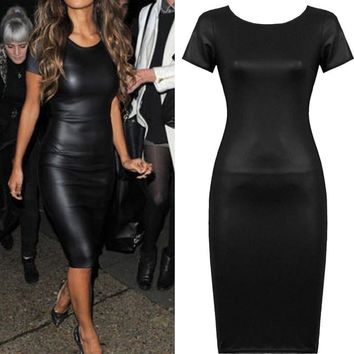 Womens Short Sleeve Wet Look Faux Leather Bodycon Midi SSkinny Dress